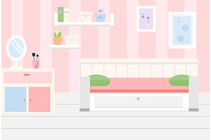 Pink room interior white furniture