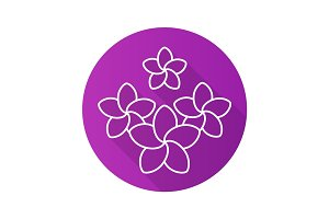 Spa salon plumeria flowers. Flat linear long shadow icon