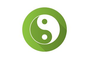 Yin yang flat design long shadow glyph icon