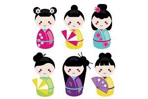 Jpanese kokeshi dolls icons