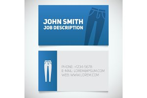 Business card print template with skinny jeans logo