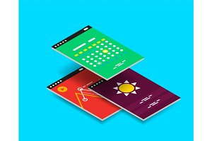 Vector isometric mobile app ui design concept