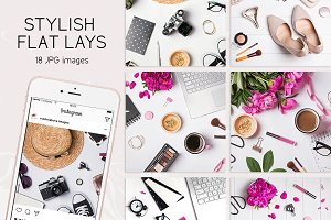Stylish flat lays set