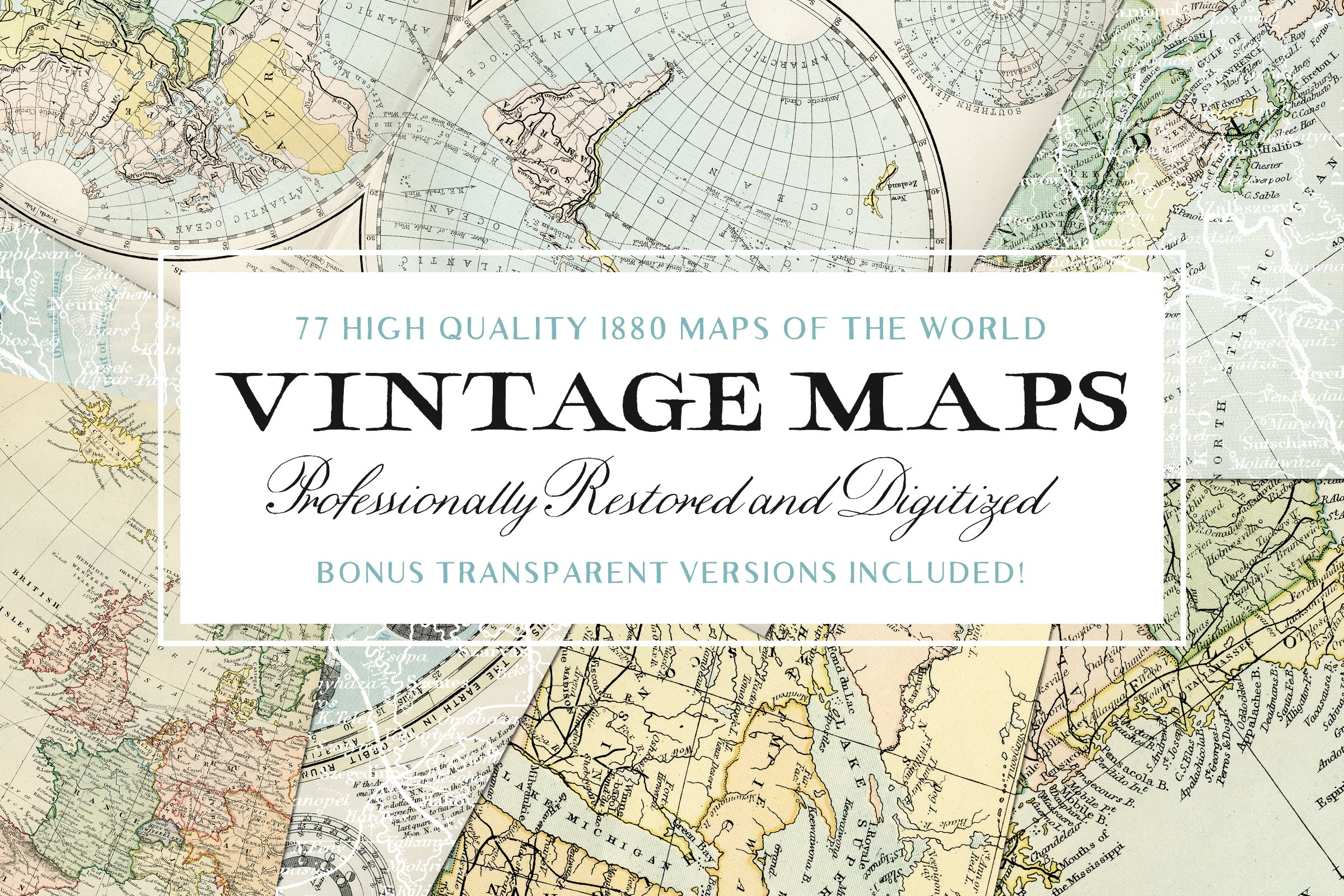 77 Vintage Maps of the World  Bonus  Objects  Creative Market