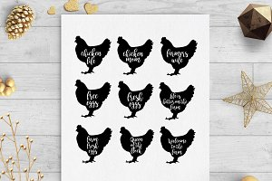 chicken farm clip art svg cut file