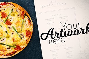 Menu With Pizza Mockup