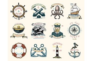 set of engraved vintage, hand drawn, old, labels or badges for a life ring, a cannon ball, a captain with a pipe. welcome aboard, two anchors, sailor. Marine and nautical or sea, ocean emblems.