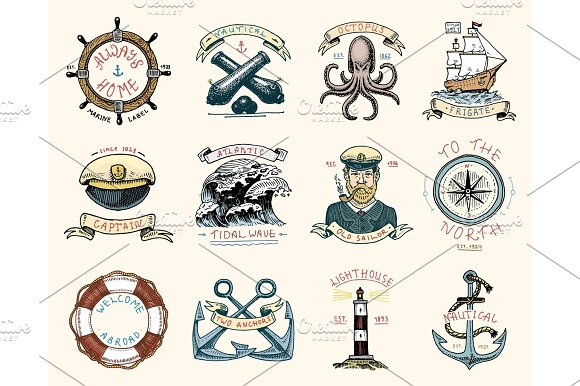 Set Of Engraved Vintage Hand Drawn Old Labels Or Badges For A Life Ring A Cannon Ball A Captain With A Pipe Welcome Aboard Two Anchors Sailor Marine And Nautical Or Sea Ocean Emblems