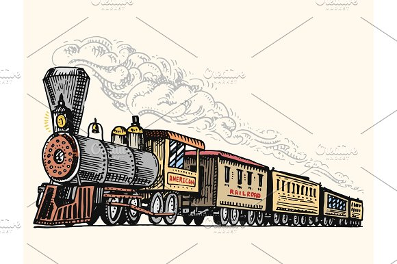 Engraved Vintage Hand Drawn Old Locomotive Or Train With Steam On American Railway Retro Transport