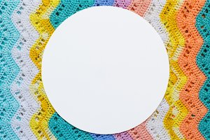 Knitted multicolored cotton canvas In light summer colors. Round