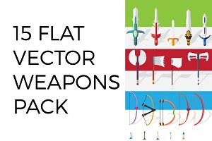 15 Flat Vector Weapons Pack