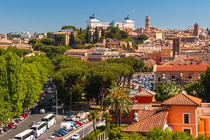 Panoramic aerial view of Rome, Italy
