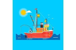 Cool flat design fishing boat seaway transportation .Fishing vessel decorative graphic design element. Vector illustration