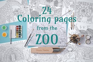 24 coloring pages from the ZOO