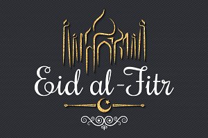 eid Mubarak logo golden card