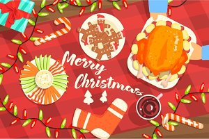 Merry Christmas Colorful Illustration With Classic Holiday Symbols Collection