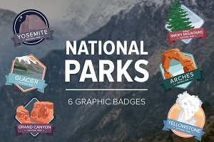 National Park Graphic Badges