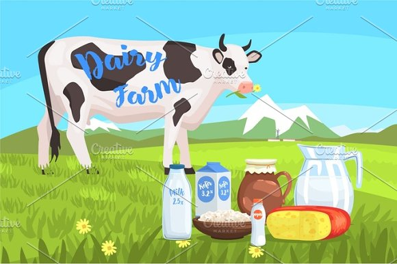 Landscape With Cow And Milk Products On The Foreground