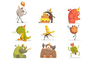 Monsters On Birthday Party In Funny Situations.