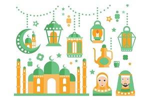 Islamic Religious Holiday Symbols Set