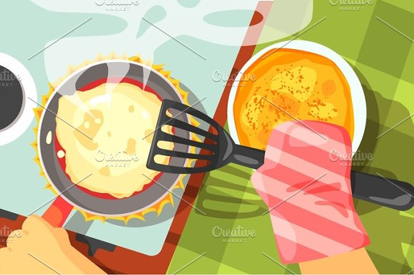 Pancakes Cooking Color Illustrations