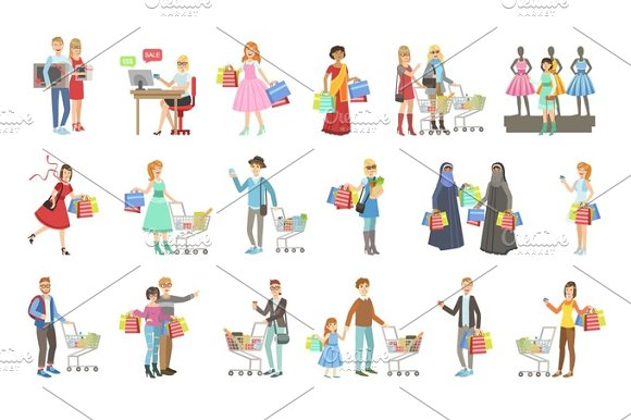 People Shopping For Clothes And Grocery