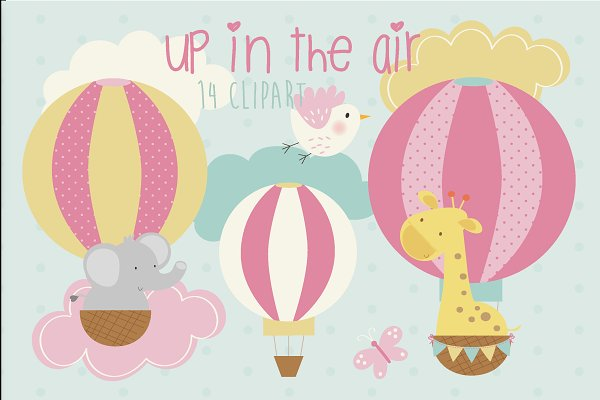 Up in the air-girls clipart