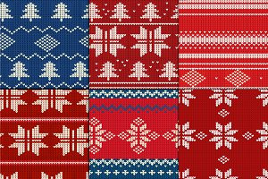 Set of six knitted seamless patterns