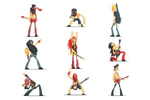 Rock Band Members Funny Characters Set