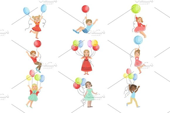 Kids With Party Balloons