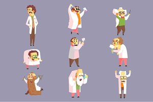 Set Of Funny Mad Scientists In Lab Coats