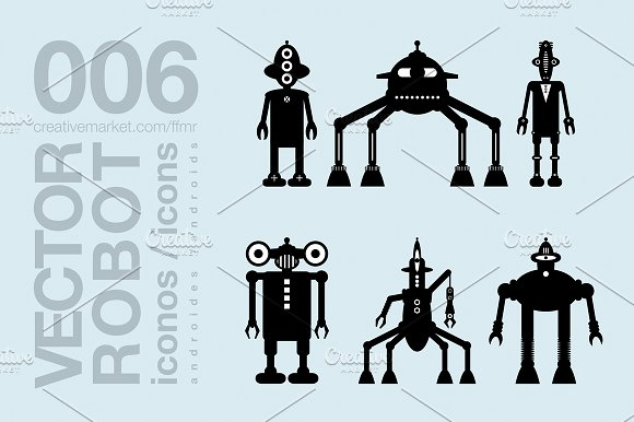 Robots Flat Icons 002