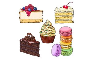 Set of desserts - cupcake, chocolate and vanilla cake, cheesecake, macaroons