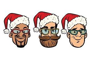 Head Santa Claus multi-ethnic group
