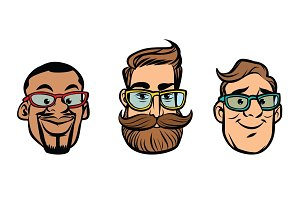 Head stylish guys, hipsters, multi-ethnic group