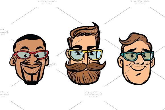 Head Stylish Guys Hipsters Multi-ethnic Group