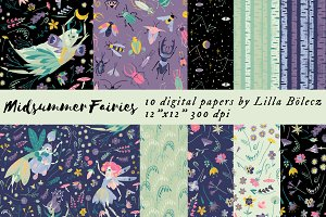 Midsummer Fairies Digital Papers