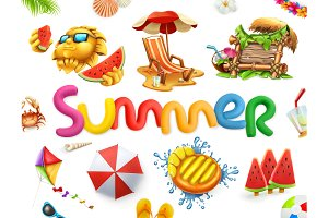 Summer holiday set. Vector
