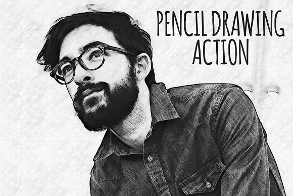 Pencil drawing actions creative market