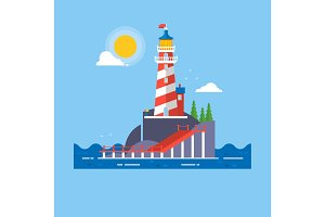 Lighthouse on rock stones island cartoon vector background. Vector illustration