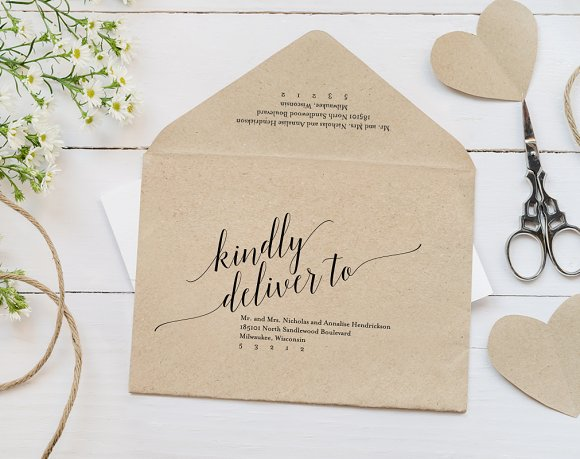 Wedding Envelope Template ~ Stationery Templates ~ Creative Market