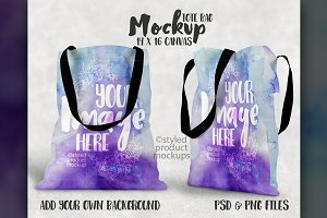Two sided tote bag mockup