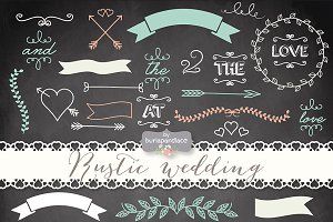 Vector chalkboard/rustic wedding