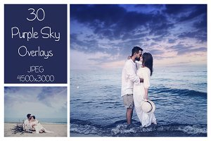 30 Purple Sky Overlays