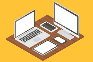 Computer equipment vector mockups