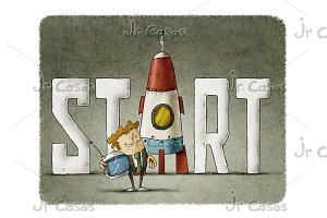Businessman with the word start and a rocket