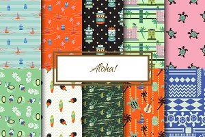 """Aloha!"" Seamless Patterns Set"