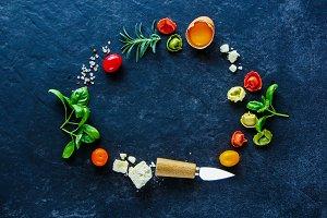 Italian food frame