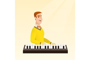 Man playing the piano vector illustration.