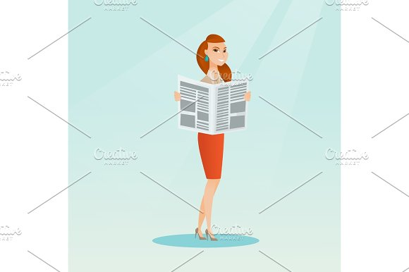 Woman Reading A Newspaper Vector Illustration